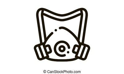 Protective Mask Icon Animation. black Protective Mask animated icon on white background