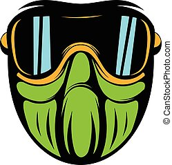 Protective mask icon cartoon