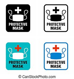 """Protective mask"", information sign"