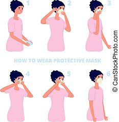 Protective mask instruction. Virus or pollution protection, individual flu prevention. Flat coronavirus health protect vector illustration