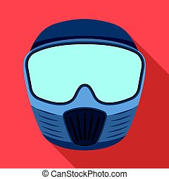 Protective mask. Paintball single icon in flat style vector symbol stock illustration web.