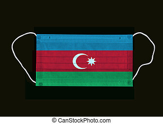 Protective medical Azerbaijani flag face mask isolated on ...