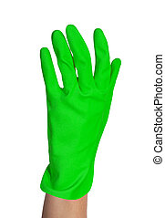 protective rubber glove on white background