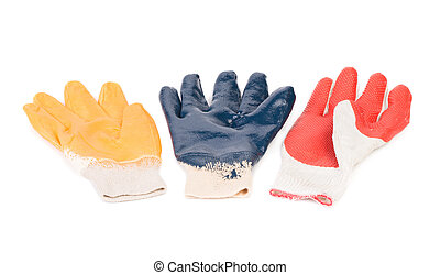 Protective rubber gloves. Isolated on a white background.