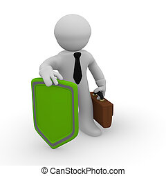 3d business man with a green protective shield