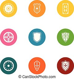 Protective shield icons set, flat style - Protective shield...