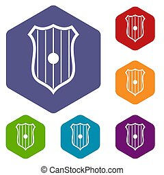Protective shield icons set