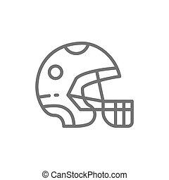 Protective sport helmet, game equipment line icon.