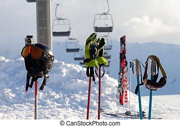 Protective sports equipment on ski poles at ski resort