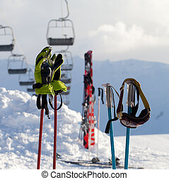 Protective sports equipments on ski poles at ski resort