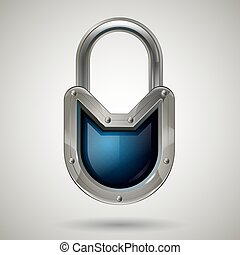 Protective steel guard padlock with safety glass. Realistic style. Isolated background.