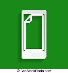 Protective sticker on the screen. Vector. Paper whitish icon with soft shadow on green background.