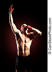 protective - Portrait of a boxer champion enjoying his...
