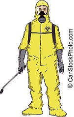 Fumigator man in protective suit