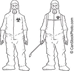 Protective suit - Man in protective suit, sketchy Vectors