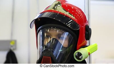 protective suit with helmet, gas mask and manometer for fireman review from top to down