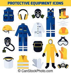 Protective Uniforms Equipment Flat Icons Set - Protective...