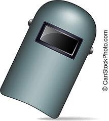 Protective welding mask (helmet) on white background