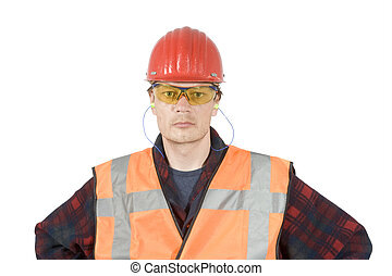 A construction worker wearing protective work wear for safety