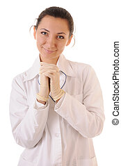 Woman in white coat and medical gloves. Isolated on white background.