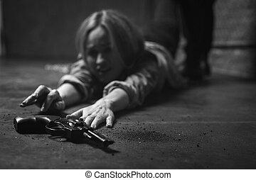 protectless, femme, évasion, espérer, terrifié