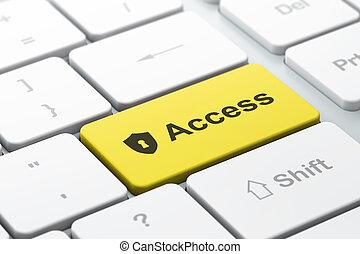 protector, acceso, computadora, ojo de la cerradura, plano de fondo, teclado, seguridad, concept: