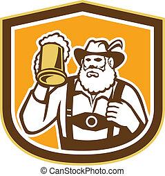 protector, bávaro, jarra, cerveza, retro, bebedor