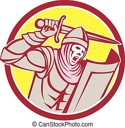 protector, caballero, retro, espada, círculo, cruzado