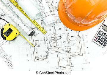 protector, casco, y, cinta, medida, herramientas