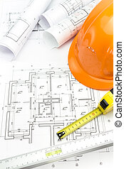 protector, casco, y, dibujos arquitectónicos