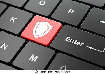 protector, computadora, seguridad, plano de fondo, teclado, concept: