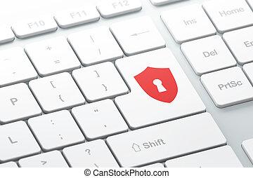 protector, computadora, seguridad, teclado, ojo de la cerradura, concept: