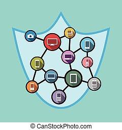 protector, concepto, red, símbolo, Seguridad, Seguridad, Ilustración