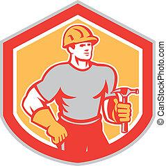 protector, constructor, carpintero, retro, tenencia, martillo