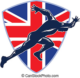 protector, corredor, sprinter, británico, comienzo, bandera