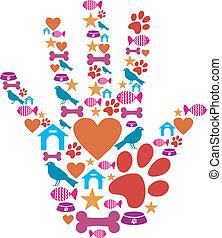 protector, mascota, conjunto de mano, animal, icono