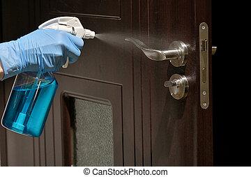 protector, puerta, mano, guante, limpieza, manija