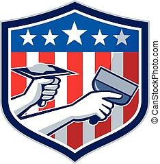 protector, servicio, norteamericano, drywall, retro, bandera, reparación