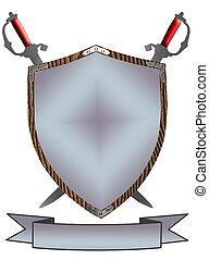 protector, siglo, espadas, aislado, guerra, 16, 3d
