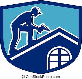protector, trabajando, trabajador, construcción, retro, techador