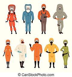 protector, trajes, conjunto, diferente, protector, uniforme, equipo, vector, ilustraciones, aislado, en, un, fondo blanco