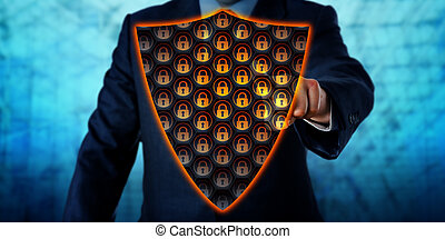 protector, virtual, antivirus, activante, hombre de negocios