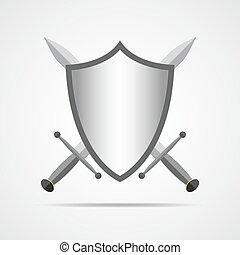 protector, y, espadas, en, plano, design., vector,...