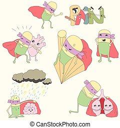 proteger, conjunto, órganos, interno, pills-superheroes