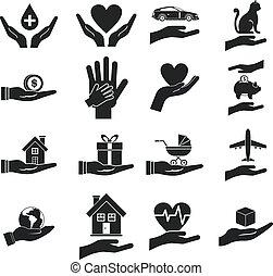 proteger, conjunto, estilo, mano, simple, icono