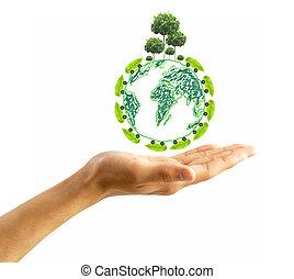 proteger, el, ambiente, concepto