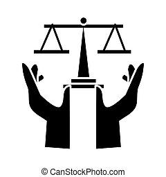 proteger, escala, estilo, manos, balance, silueta, icono