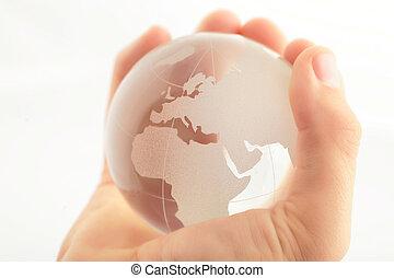 proteger, globo, frágil, mano, ambiente, tenencia