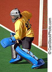proteger, goal., campo, preparar, hockey, portero