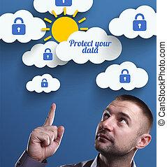 proteger, marketing., tecnología, pensamiento, about:, joven, empresa / negocio, internet, hombre de negocios, datos, su